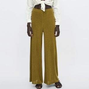 NWT Zara Knit Collection Green Flared Trouser